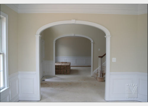 Custom Arched Opening with eliptical arch, keystone, Adams casings
