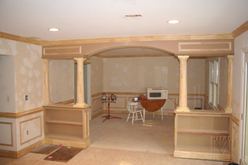 Custom archway with 1/2 wall bookcases - unpainted