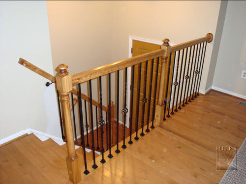 Maple Newels & Rails, Forged Iron Balusters