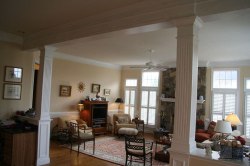 1/2 wall built-ins with fluted columns...kitchen side view