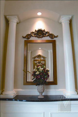 Foyer niche archway with columns and granite counter tops