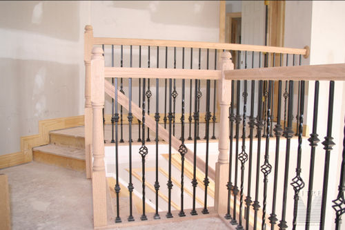 Close-up of metal balusters