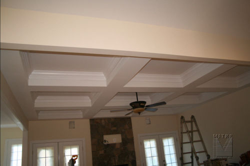 Family room coffered ceiling