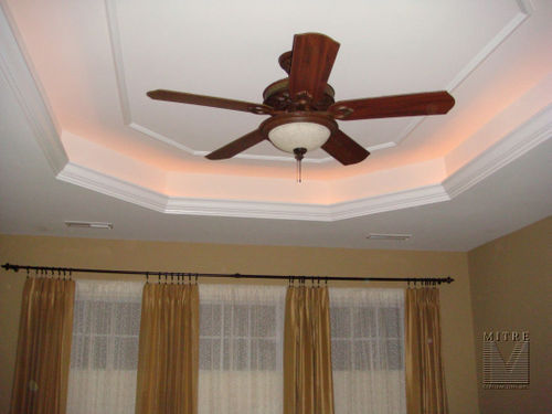 Master Tray ceiling with accent lighting & mouldings
