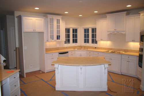 Kitchen with Limestone counters & custom cabinetry