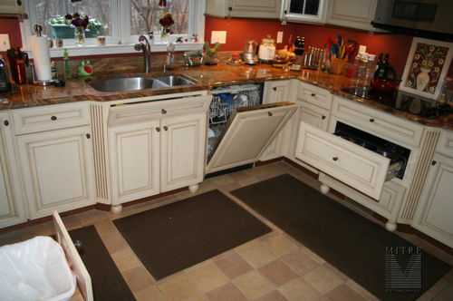 Wood paneled appliances: dishwasher and warming draw...tilt-out-trays on sink cabinet
