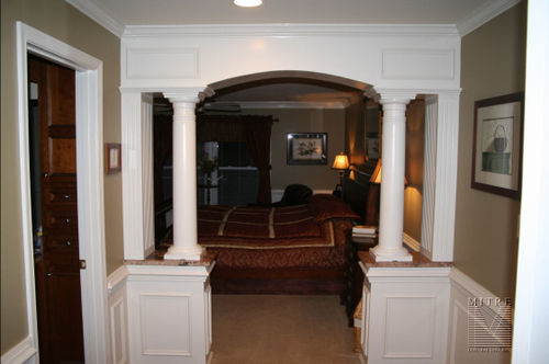 1/2 walls with granite tops, tapered columns, fluted columns & wainscoting