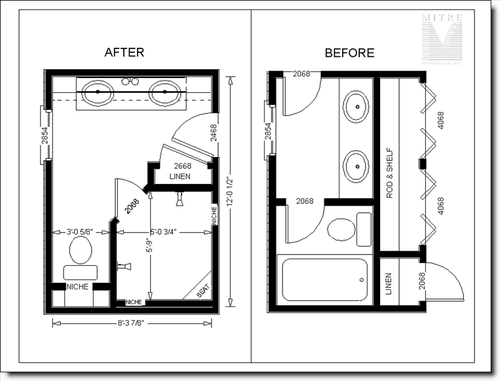 Before & After Bathroom Layouts