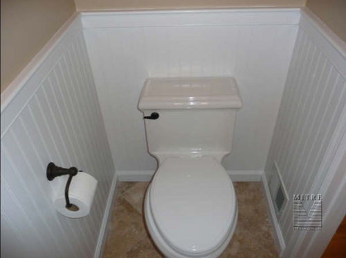 Bathroom remodeling - new tile, commode, beadboard wainscoting