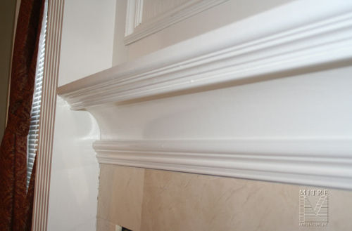 Mantel moulding build-up, close-up view