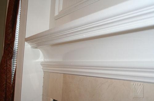 Mantel moulding build-up, close-up view