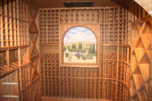 Wine Cellar with custom mural in arch