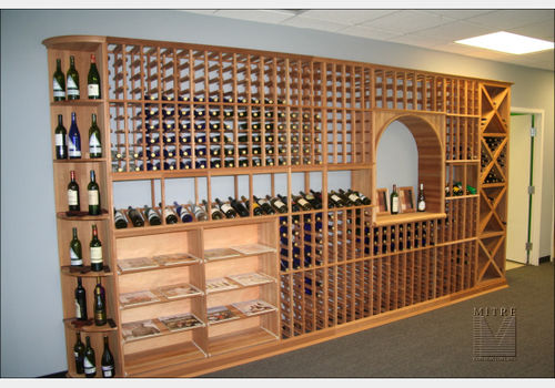 Straight wall of wine racking