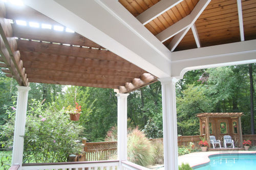 View Of Gazebo Ceiling, Trellis, Columns & Pergola