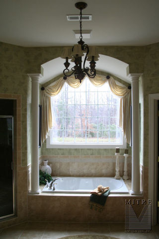 Master bathroom drywall archway with tapered columns