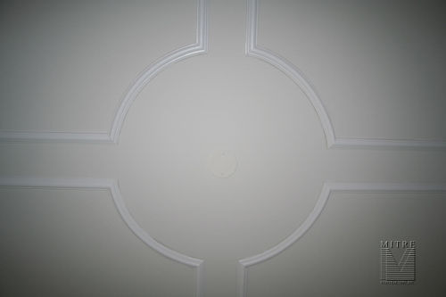 Panel moulding on ceiling - center close-up