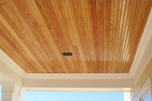 Clear pine beadboard porch ceiling