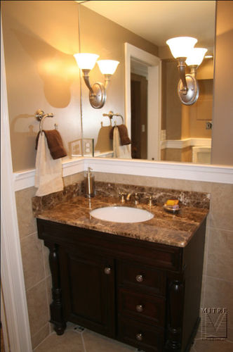 Cherry vanity with marble counter