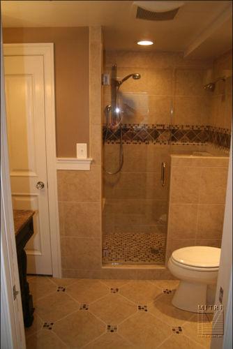 New bath features, Kohler fixtures, porcelain & glass tile, linen closet.