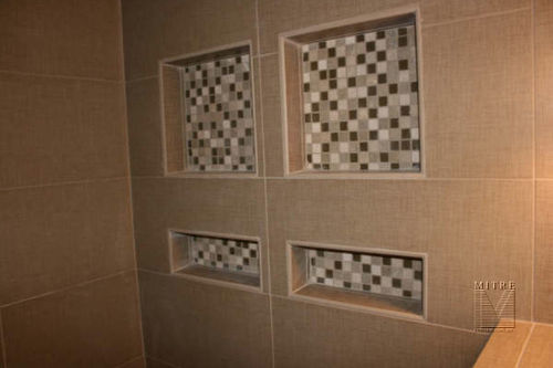 New shower tiles, showing niches