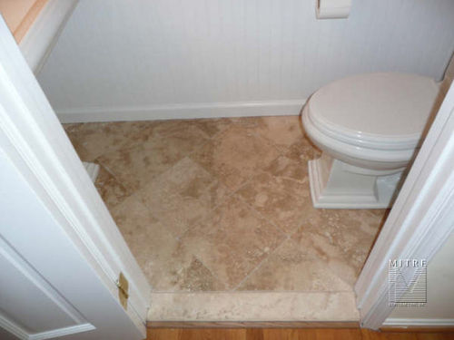 Powder room remodeling - new tile, painting, mouldings