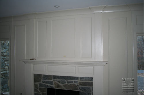 Mantel with raised panels, recessed panels, wall panels, crown