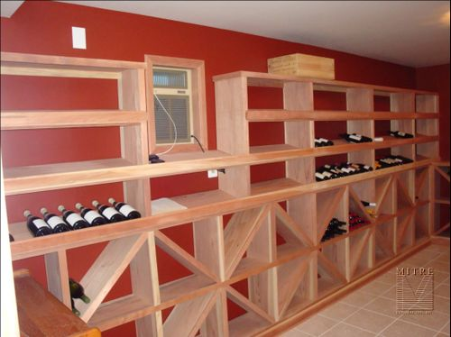 Left side redwood wine racking