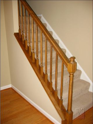 Old pine rails and carpeted stairs