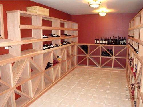 Climate controlled Wine Cellar with redwood wineracks and mouldings