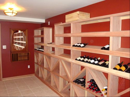 Redwood wine racking with diamond bins, 15 degree wine bottle display and 2 piece baseboards