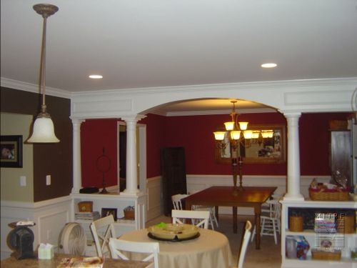 Half Wall Bookcases with Archway & Columns