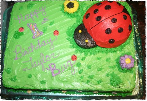 Birthday Cake with lady bug cake topper