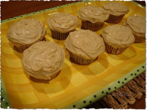 Zucchini Cupcakes with carmel frosting