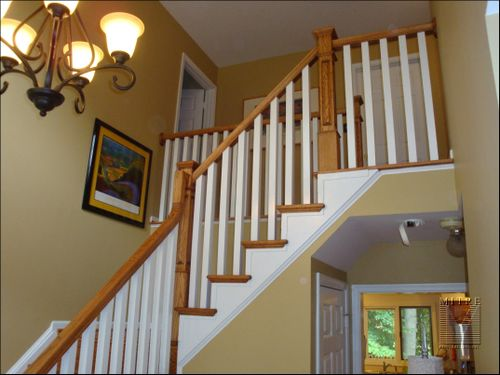 New oak railings with painted balusters and scrolls