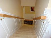 Stairway wainscoting and oak handrails