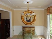 Dining room raised panel wainscoting, ceiling trim, crown moulding