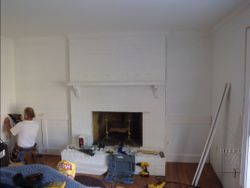 Wainscot frames getting installed
