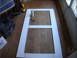 Wainscoting frames after getting glued and pocket screwed together