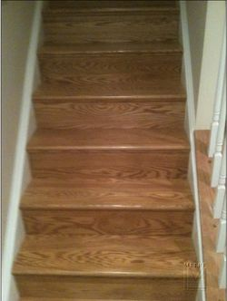 "Solid 5/4"" thick oak treads and solid 1/4"" resawn oak risers"