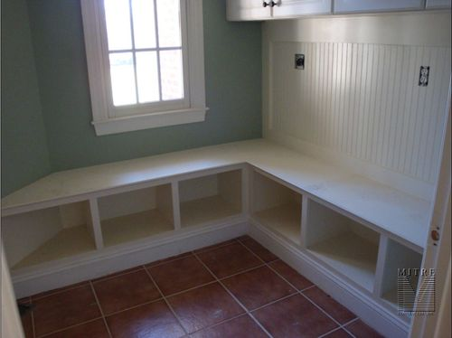 Bench with storage and beadboard for mud room