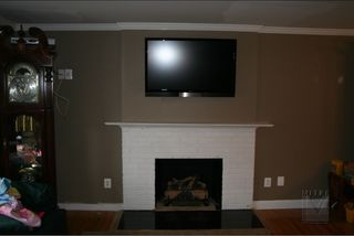 existing fireplace mantel before picture