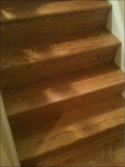 "Stairway after the installation of the solid 5/4"" thick oak treads"