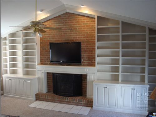 Completed built-in cabinetry & mantel