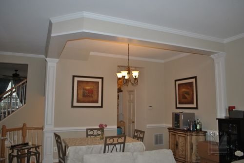 Dining Room Pilasters, Crown Moulding, Chair Rail
