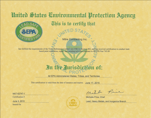 EPA Lead Safe Certificate for Mitre Contracting, Inc.