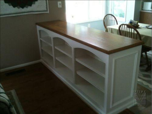 Built-In room divider halfwall bookcase