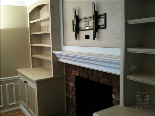 CloseUp view of cabinetry and mantel feature