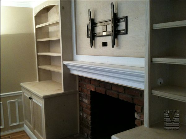 Built In Cabinets With Boxed Mantel At Fireplace Mitre