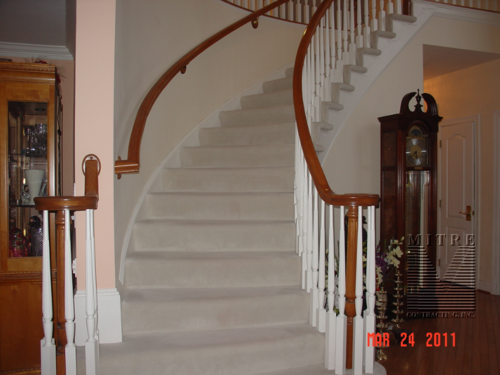 carpeted curved stairs before retreading with solid oak treads and risers