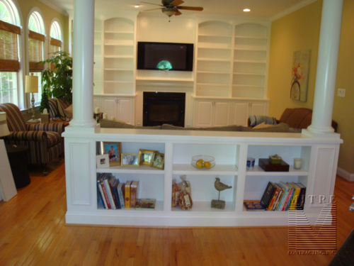 Half Wall Bookcase Built-In with Columns